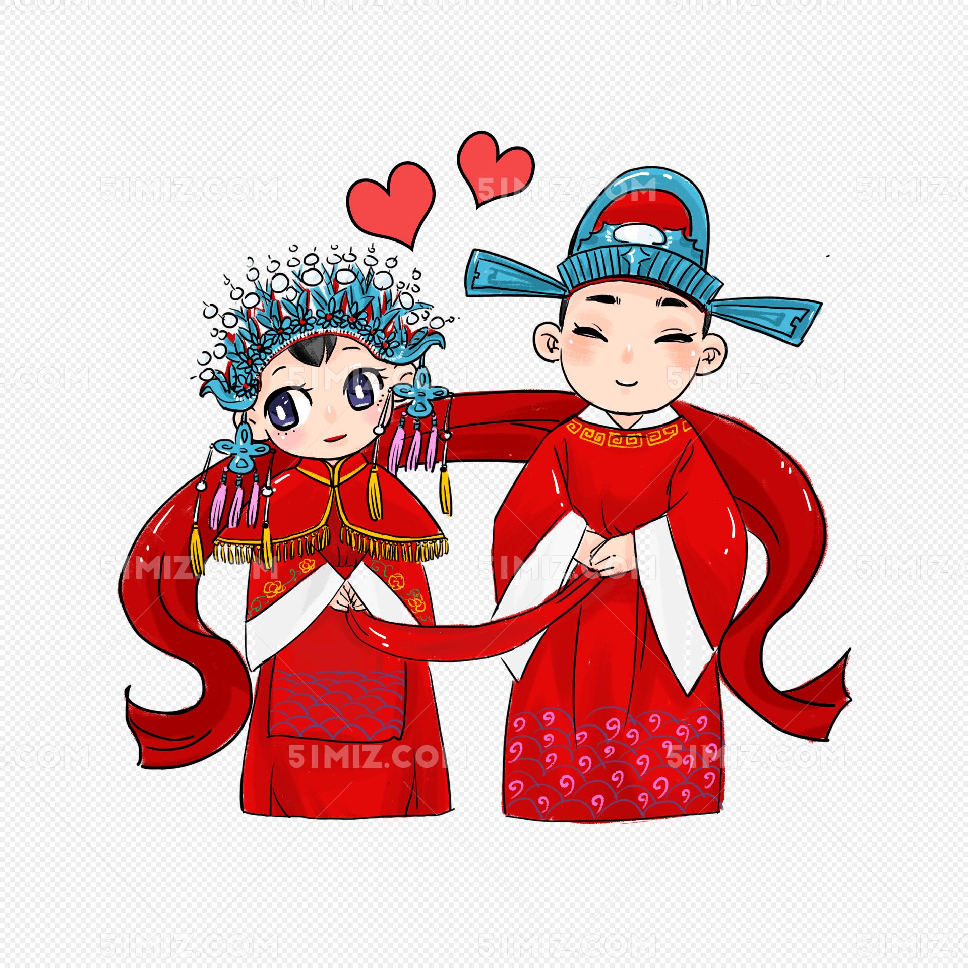 古代古装结婚礼服喜服新郎新娘手图片素材免费下载_觅