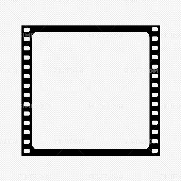 手绘黑色扁平化电影胶片边框