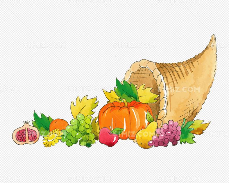 手绘风感恩节丰收水果