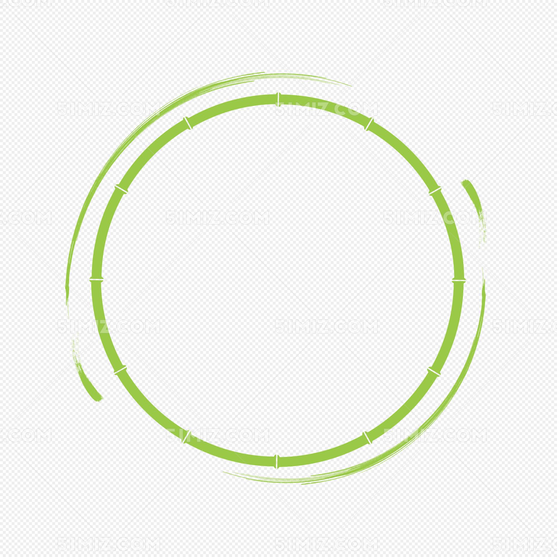 矢量端午节水墨竹子圆形古风边框