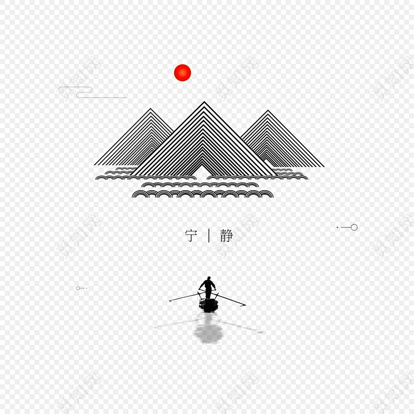 极简手绘泛舟湖上山水风景背景免费下载_png素材_觅