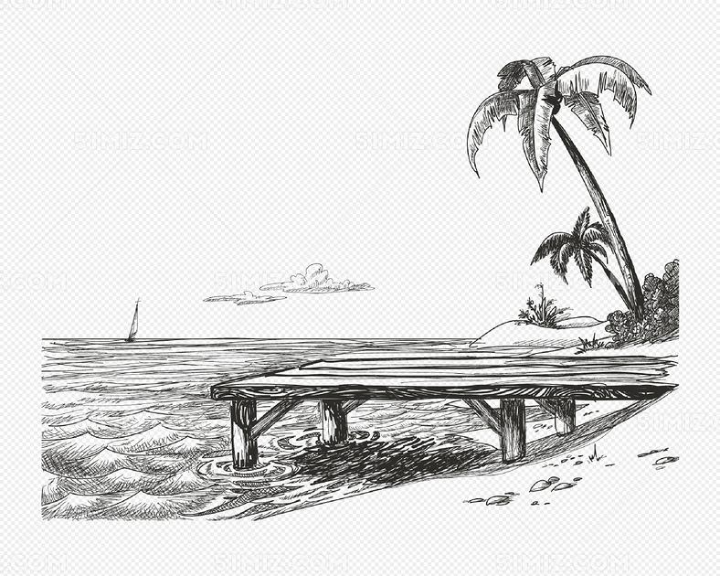 手绘海边风景矢量素材
