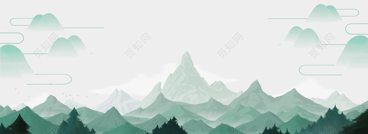 淡雅中国风山水清爽风景背景