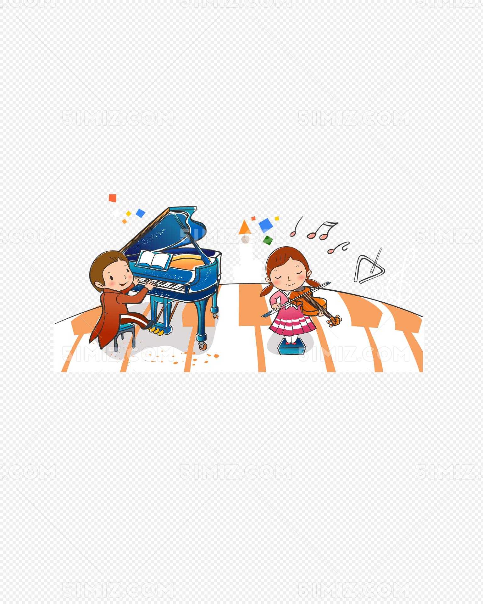 小朋友弹钢琴拉吉他免费下载_png素材_觅知网