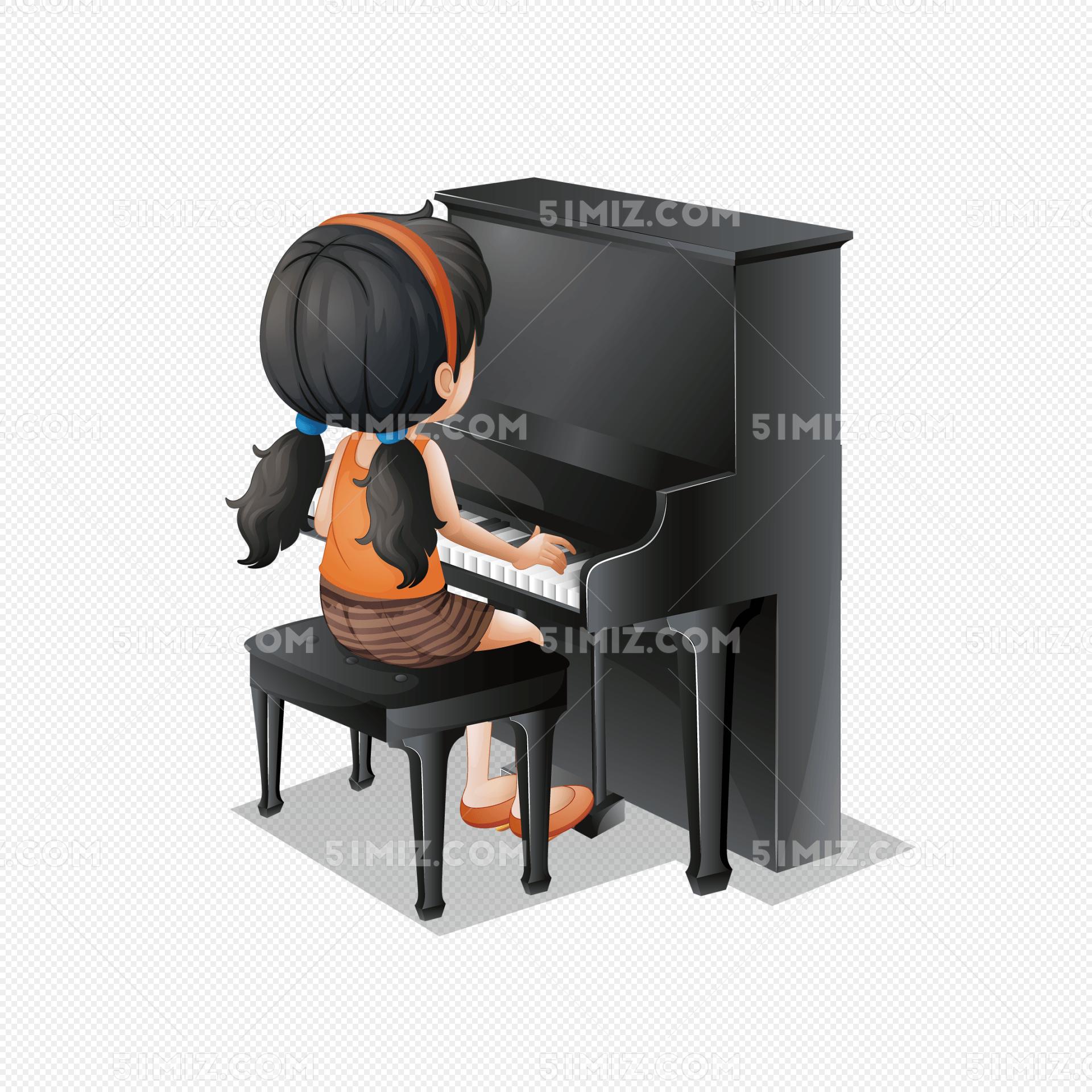 矢量手繪彈鋼琴的女孩