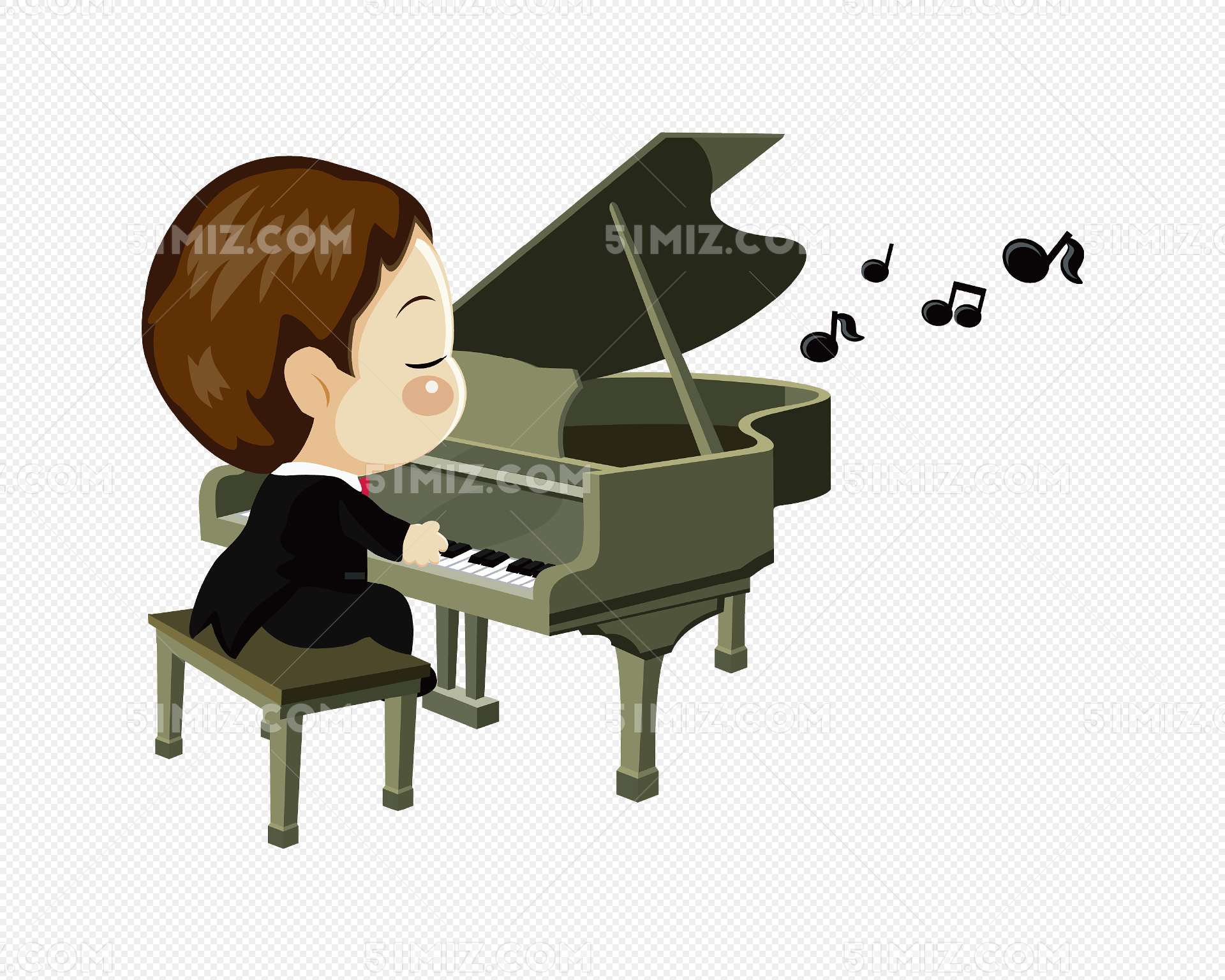 男孩弹钢琴
