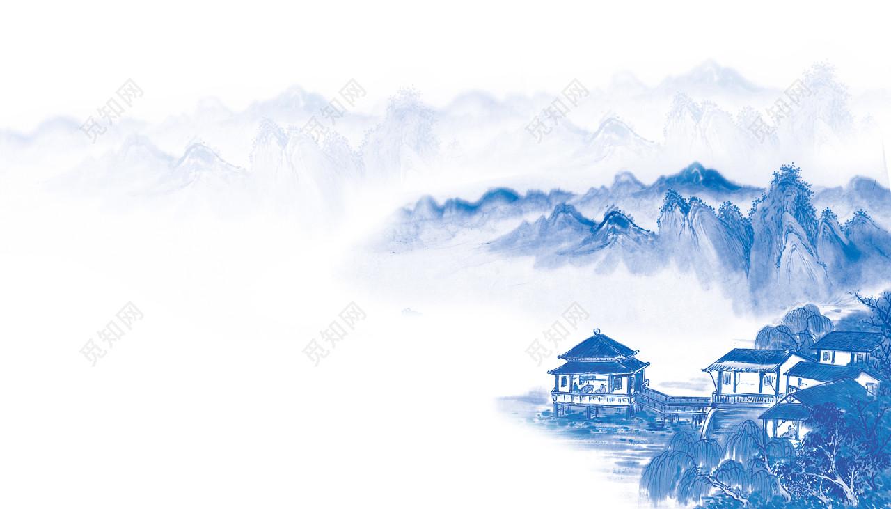 青花瓷风格水墨山水海报背景