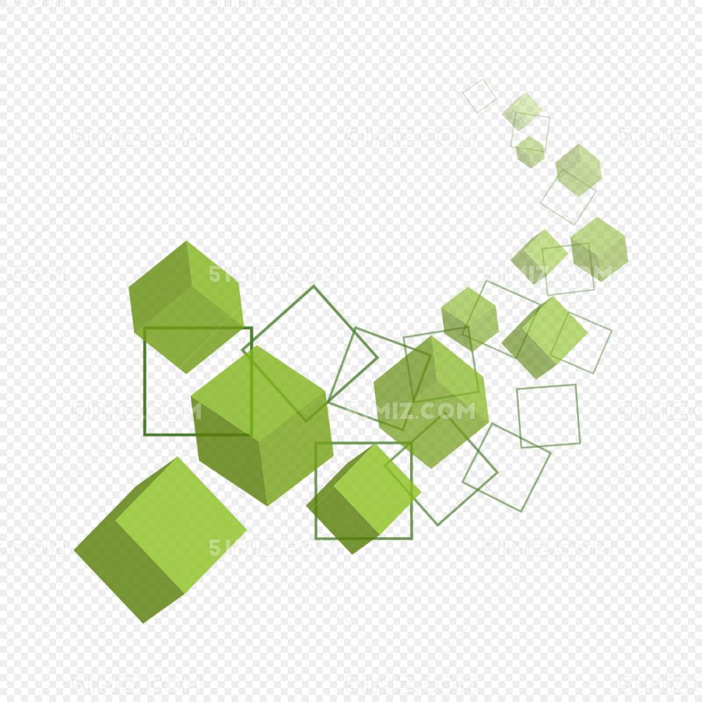 绿色几何方块免费下载_png素材_觅知网