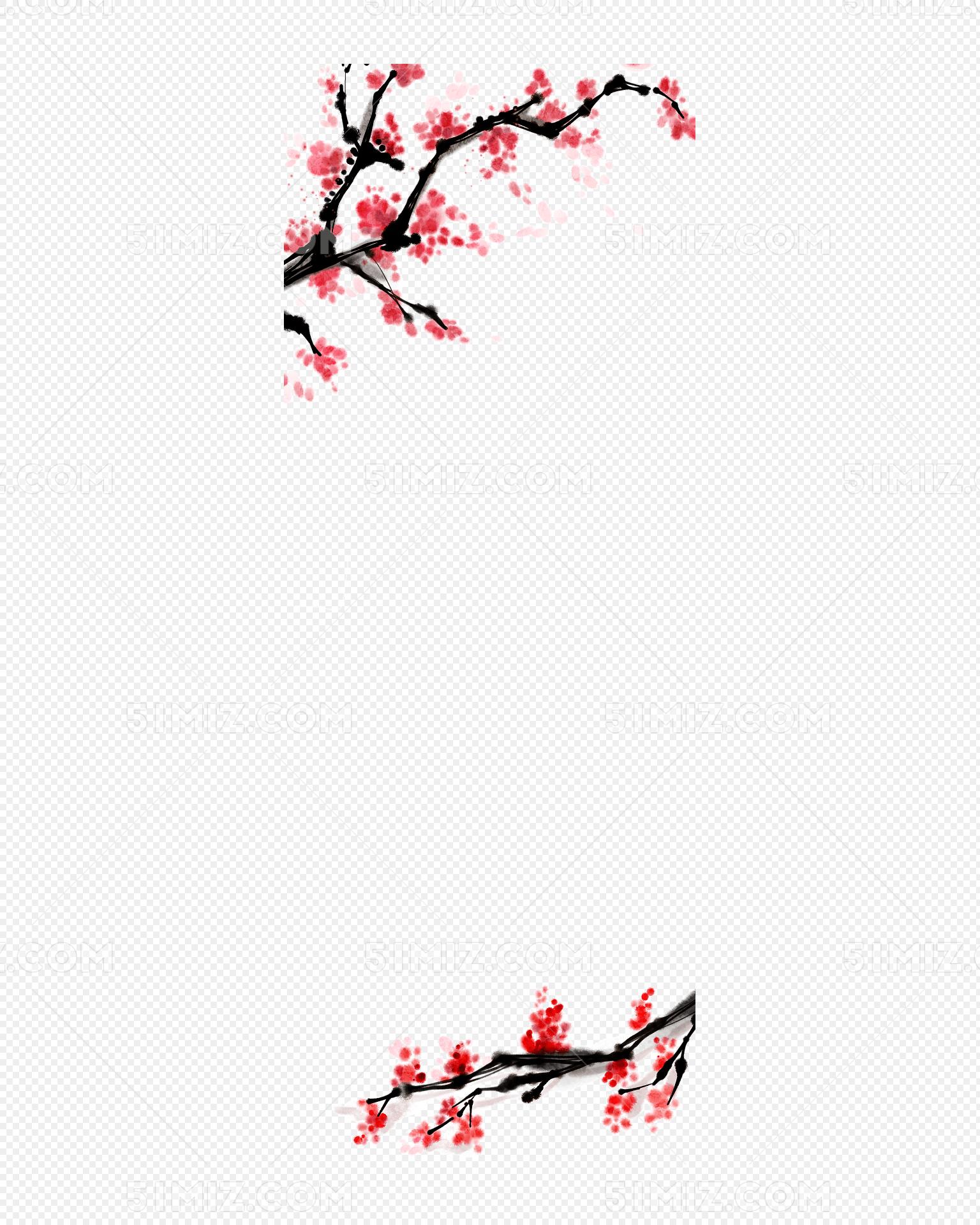 水墨梅花边框背景