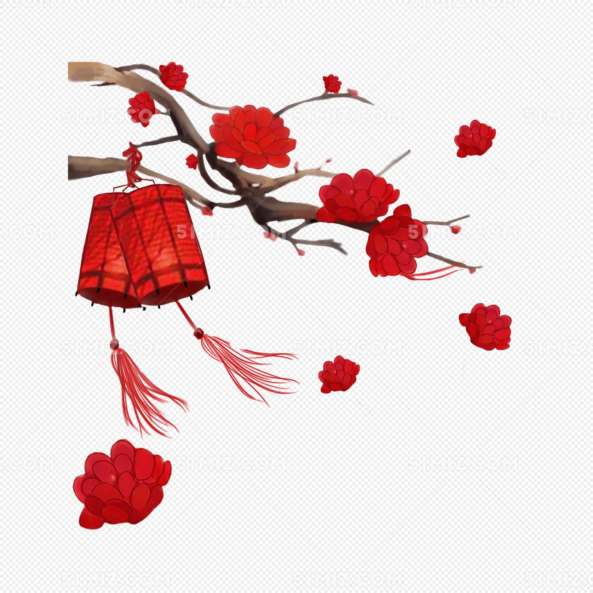 中国风手绘梅花灯笼新年装饰图案