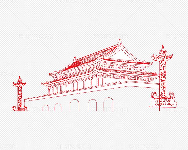建党节红色线条天安门背景素材