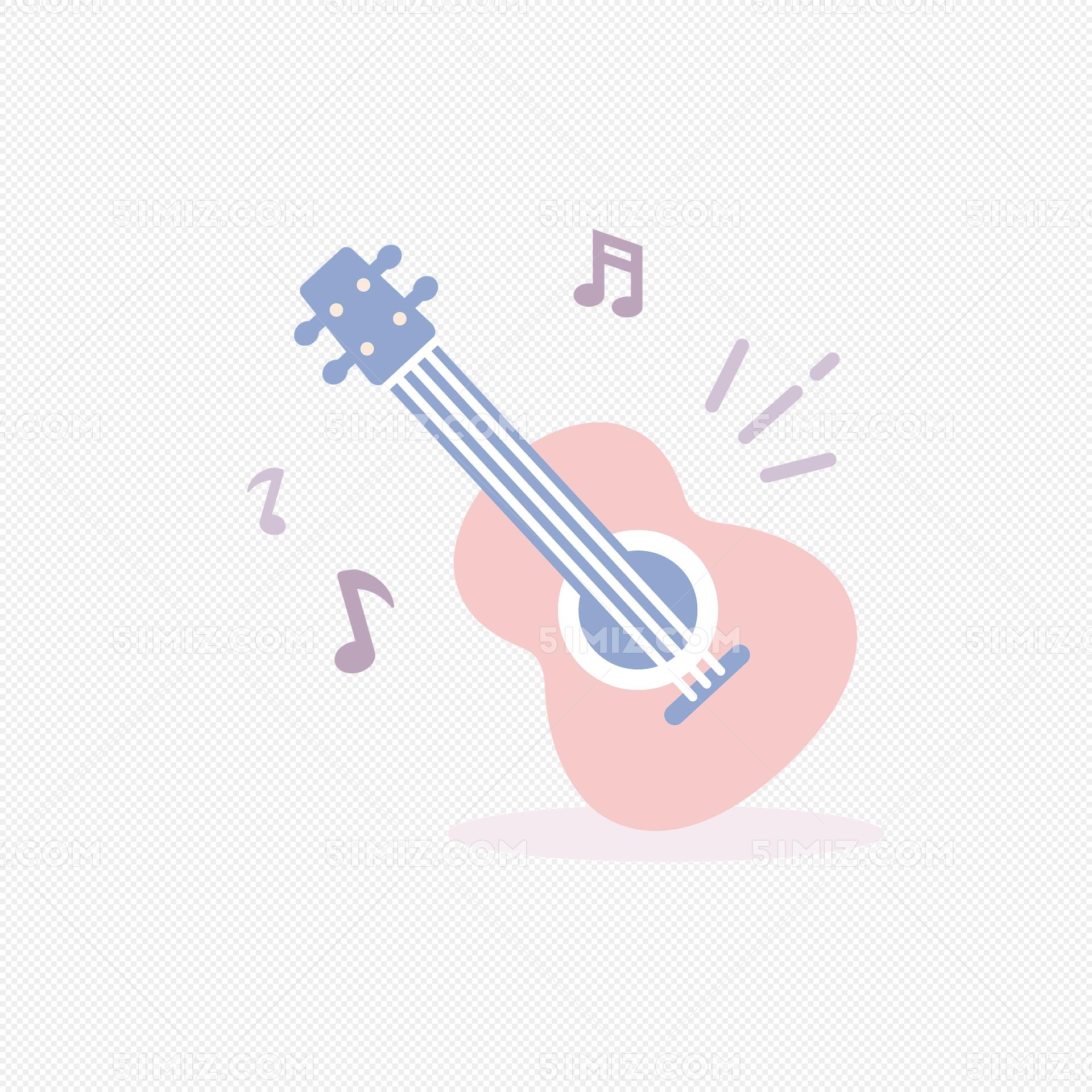 粉色吉他音符矢量图