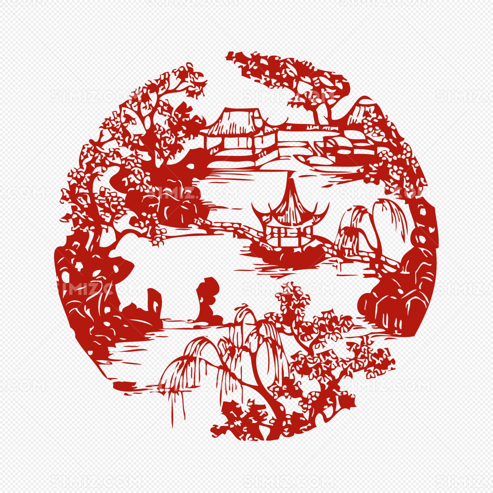 古代中式庭院窗花剪影矢量图