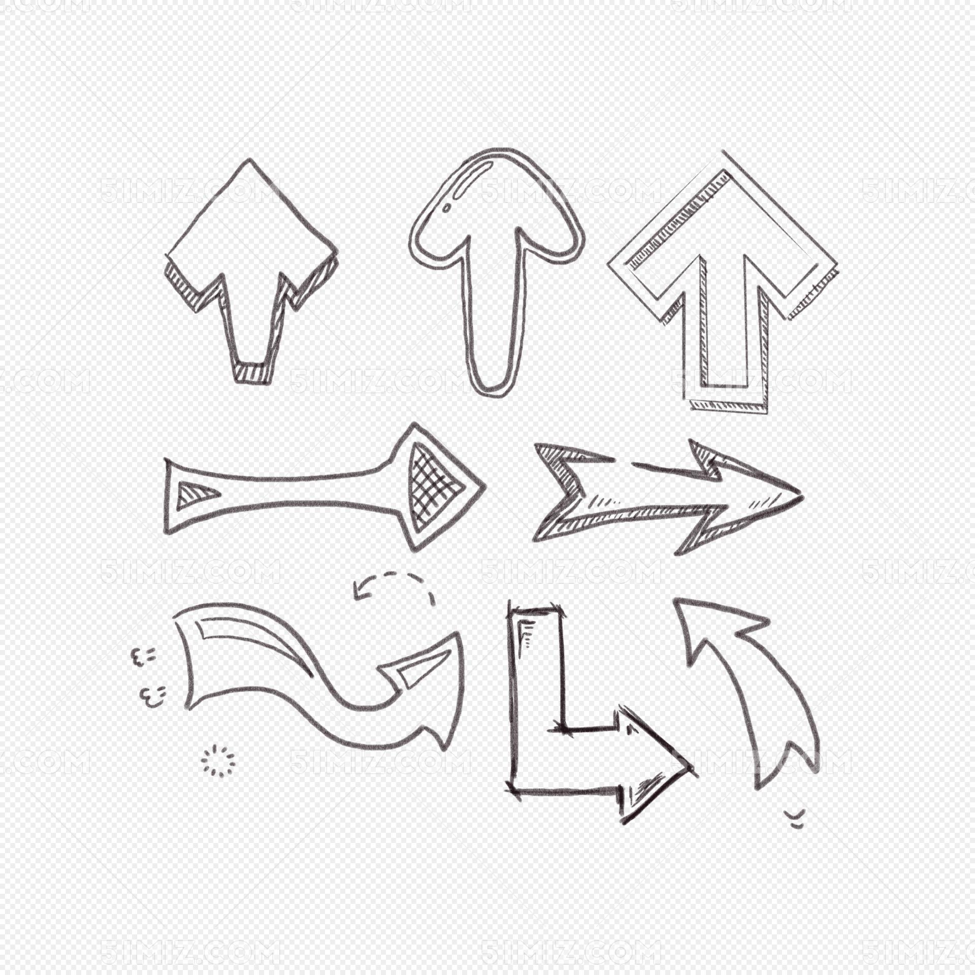 卡通手绘涂鸦线条箭头简笔画图片素材免费下载 觅知网