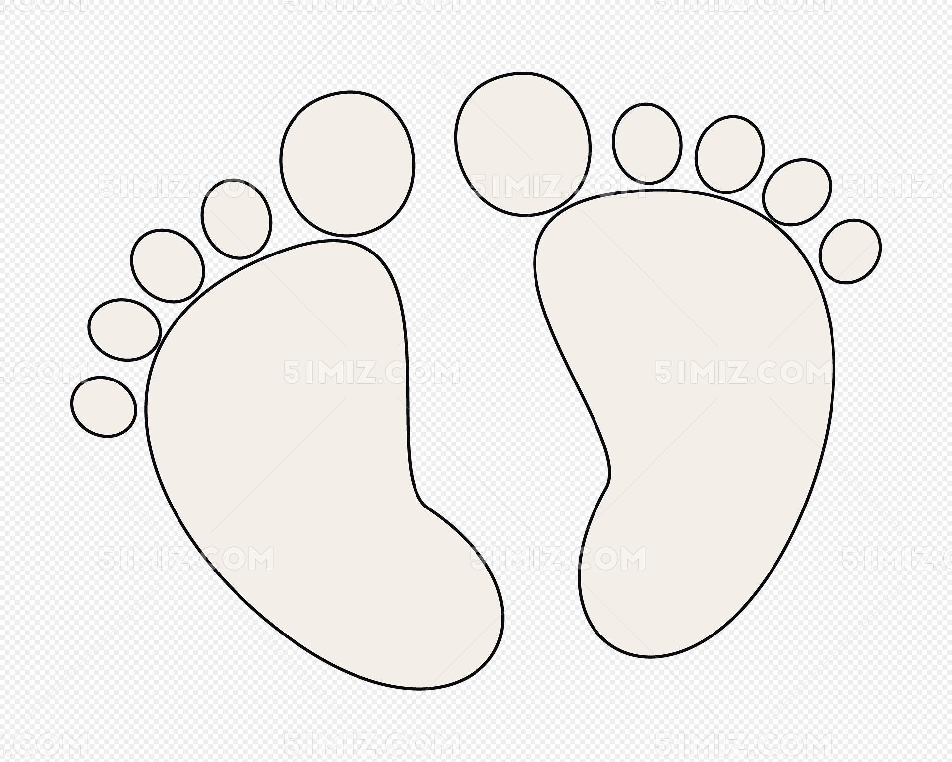 宝宝小脚印手绘图图片