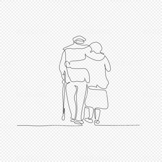 线条老人背影简笔画