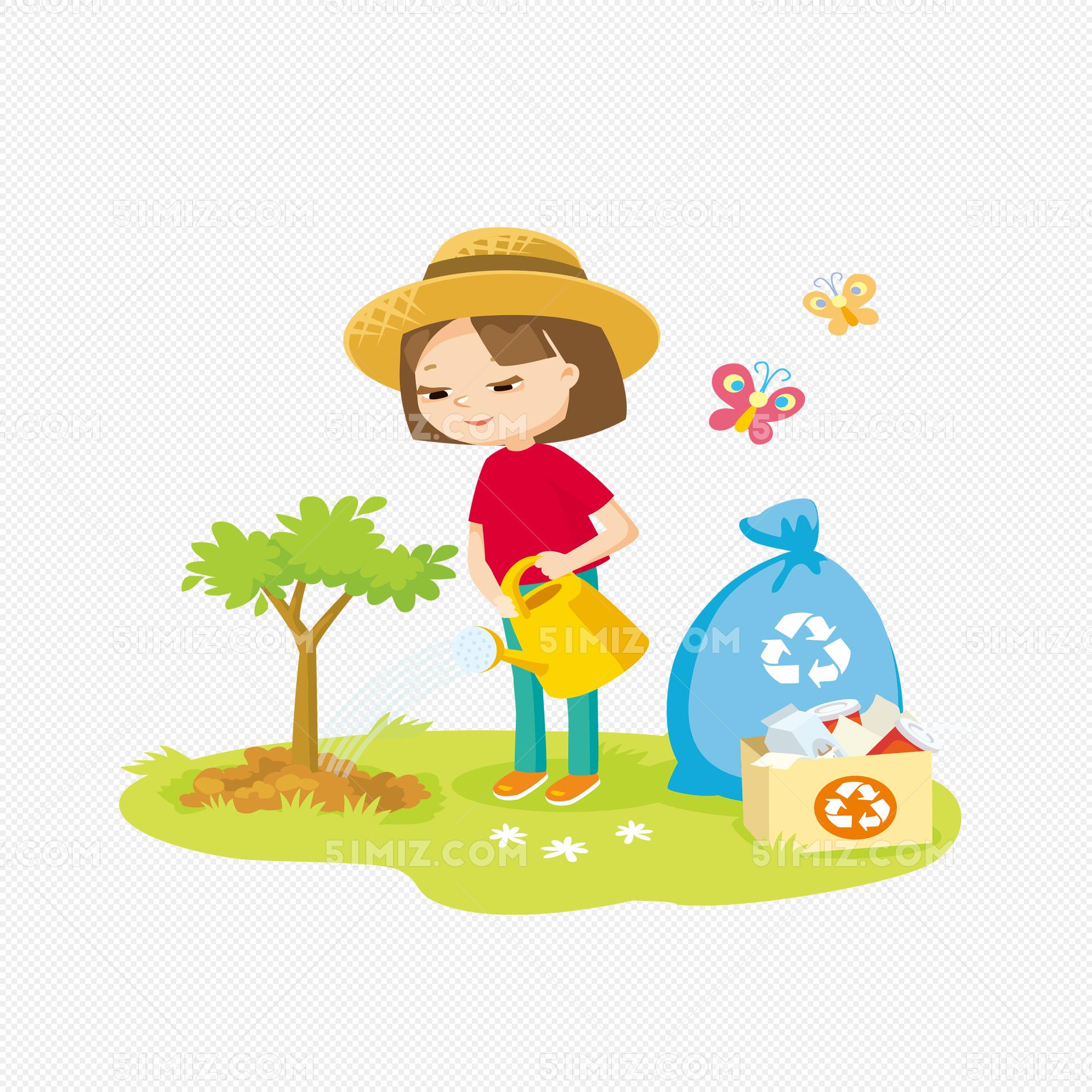 卡通人物浇花图片_卡通小女孩浇花种树植树节素材免费下载_觅知网
