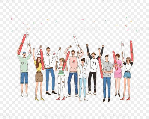 卡通欢呼的一群人图片