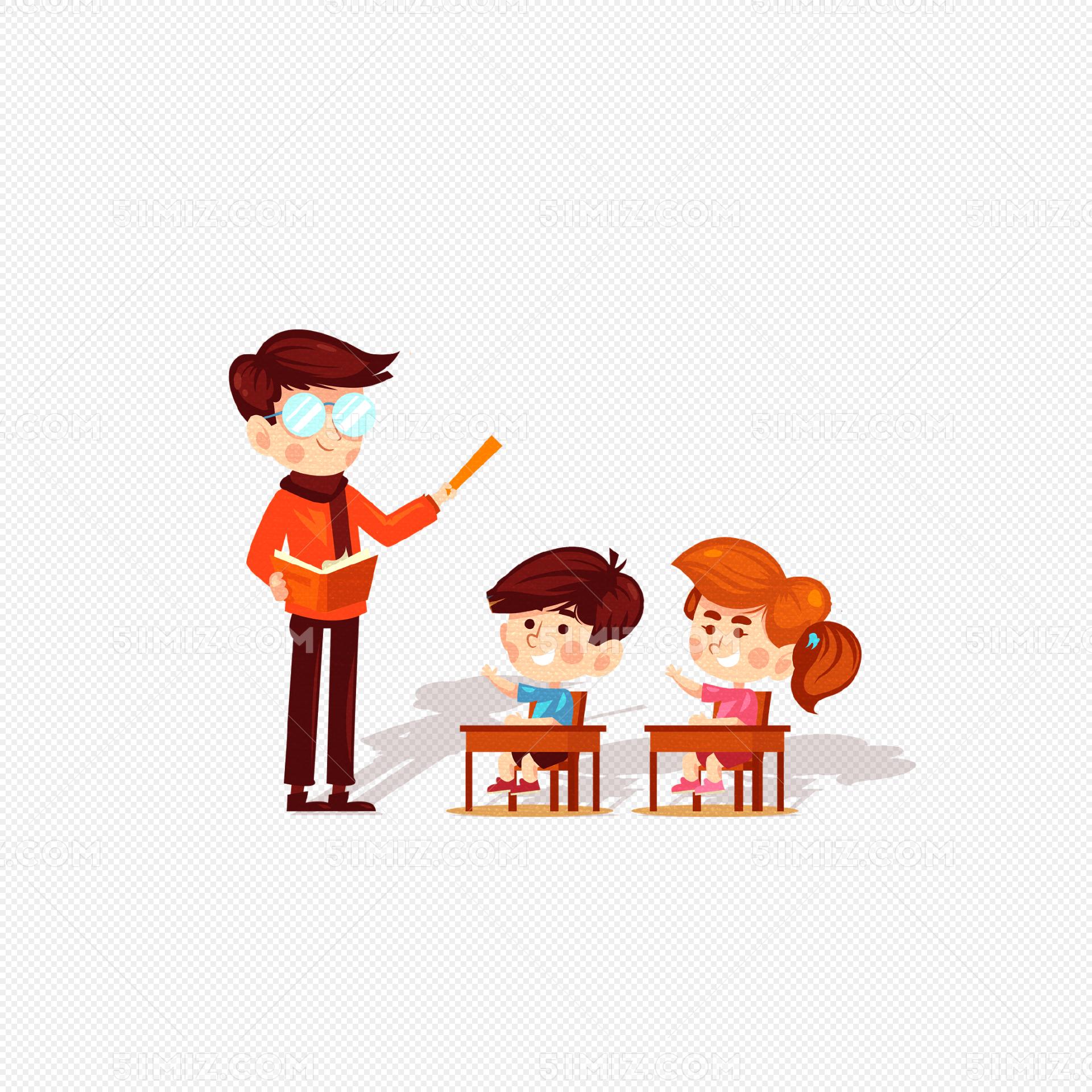 卡通讲课的老师插画图片