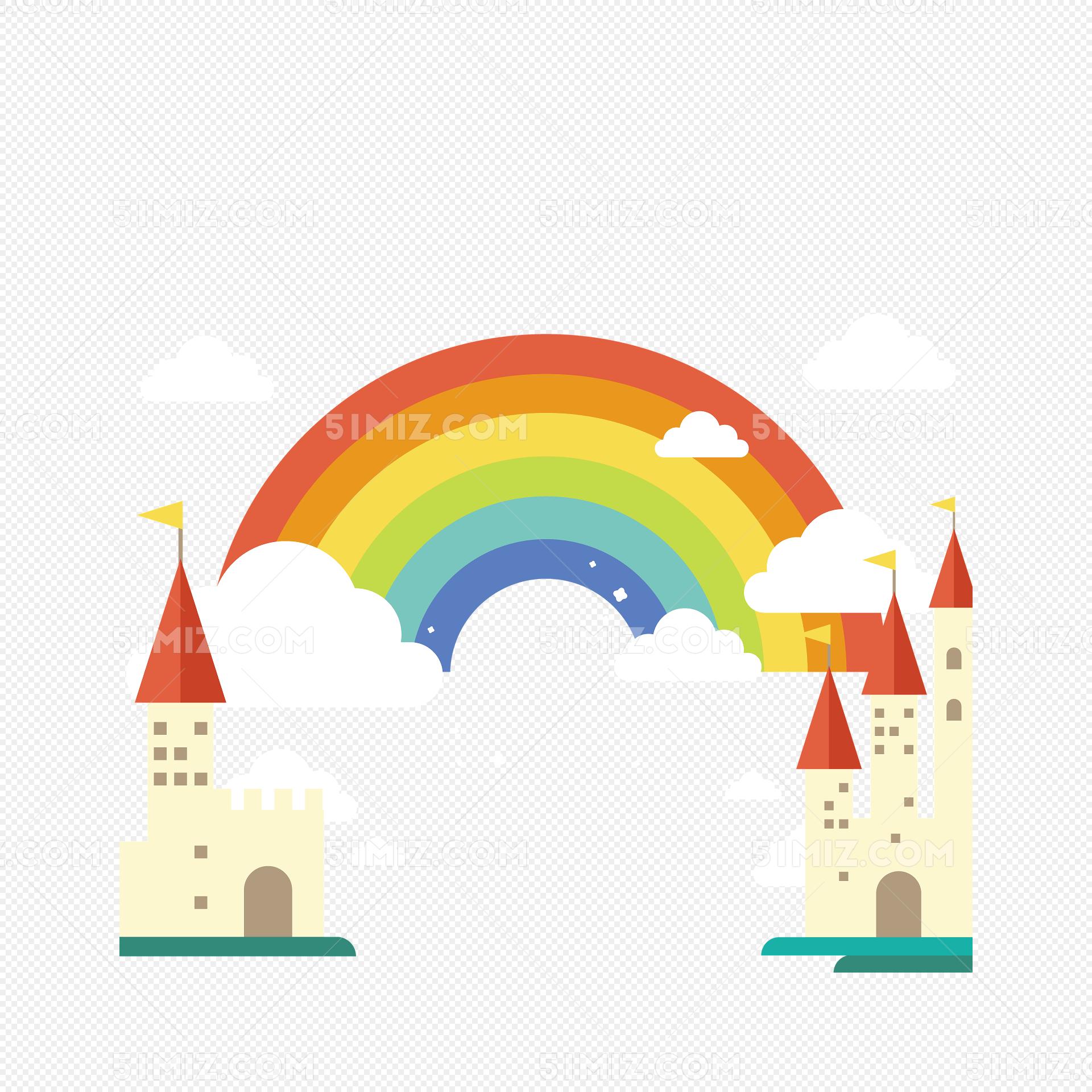 彩色魔法世界城堡矢量图