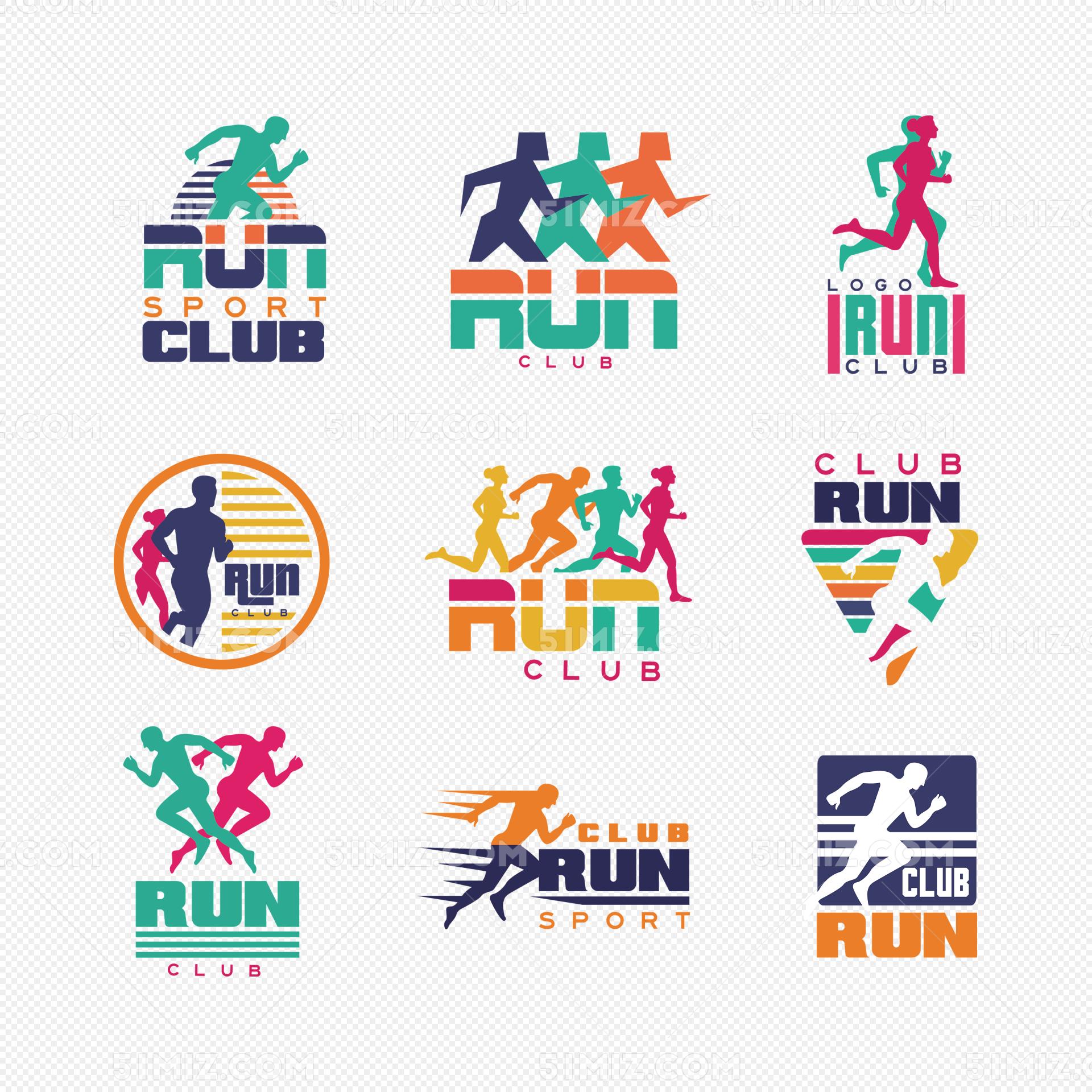 彩色时尚跑步运动图标矢量图