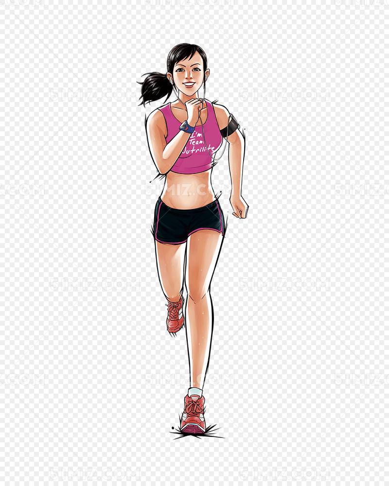 手绘人物插画运动跑步健身的女孩图片素材免费下载_觅