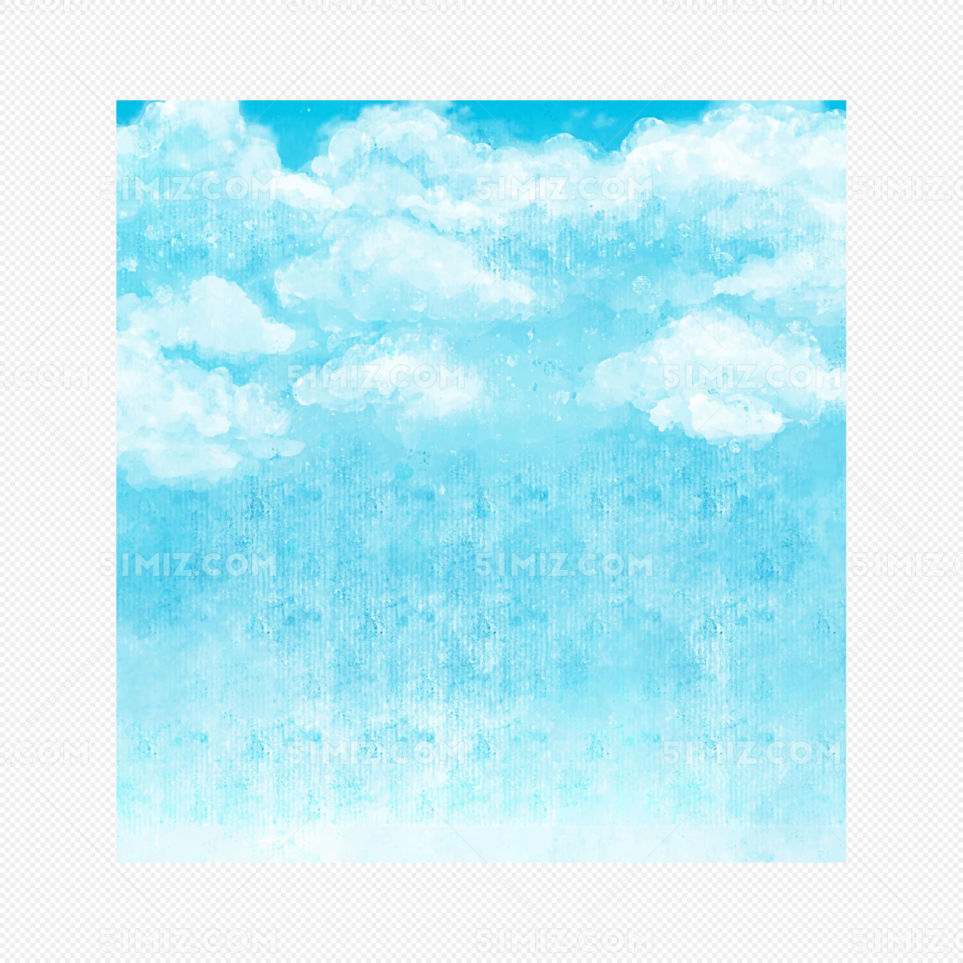 png素材 手绘水墨蓝天白云朵水彩插画标签:蓝天白云 水彩水墨 卡通