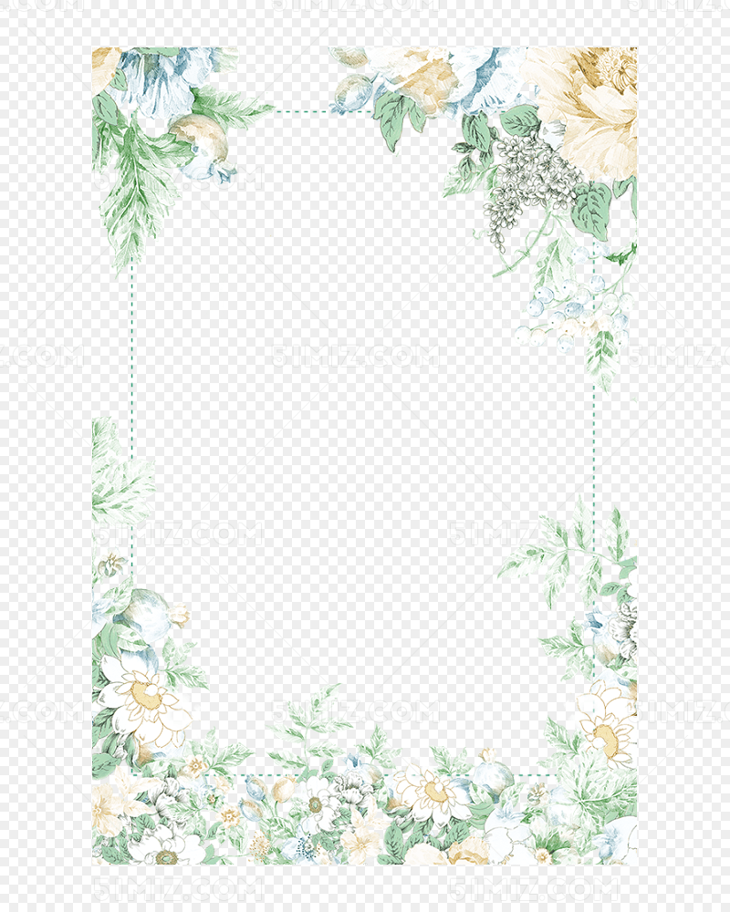 田园风花朵碎花边框图片素材免费下载_觅知网