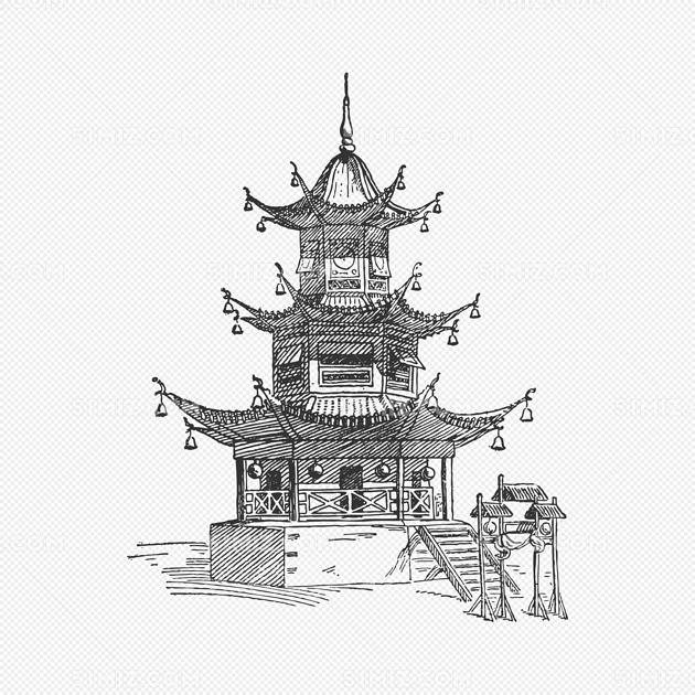 中国雷峰塔高塔长城古城建筑帆船手绘插画图片
