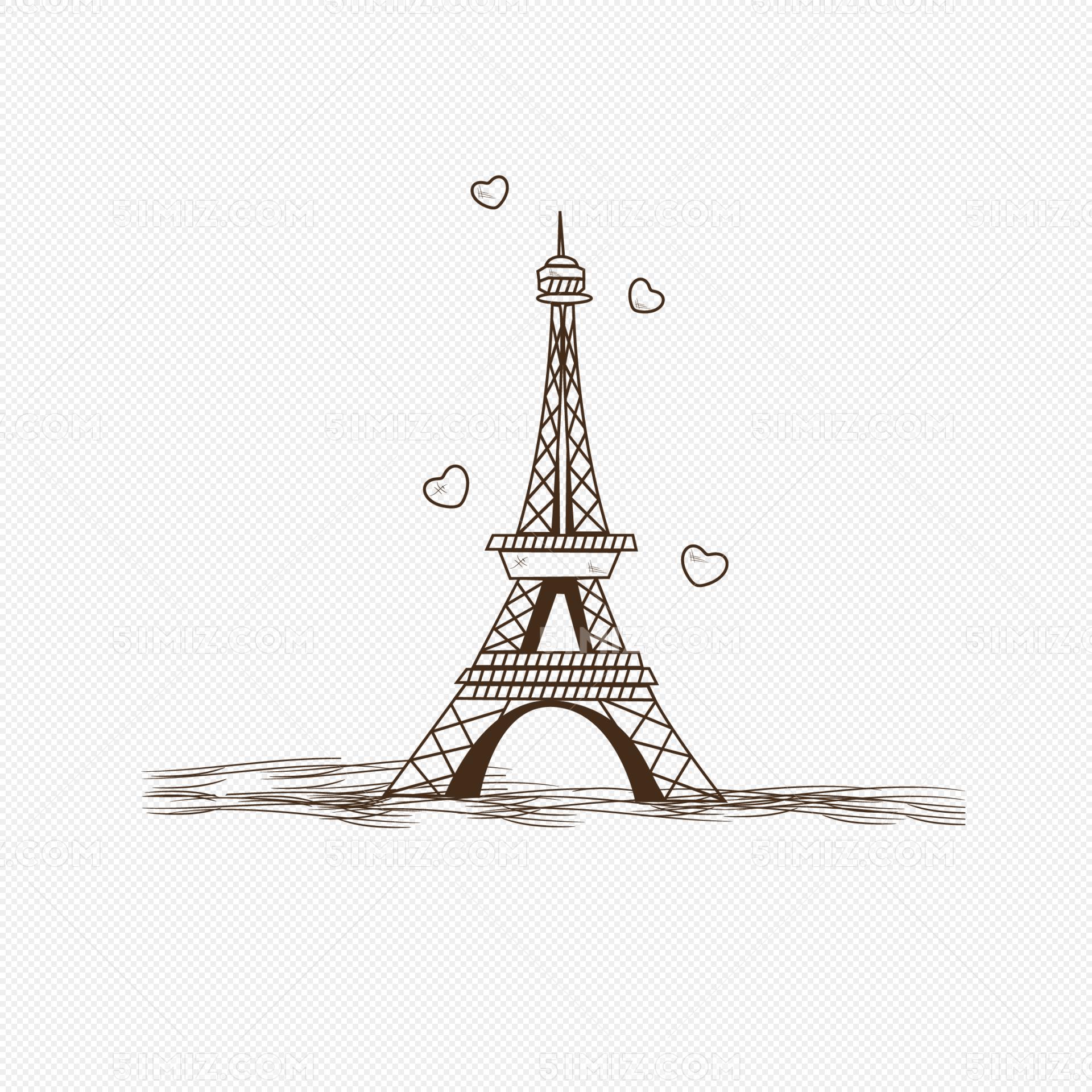 巴黎埃菲尔铁塔手绘线稿素材图片
