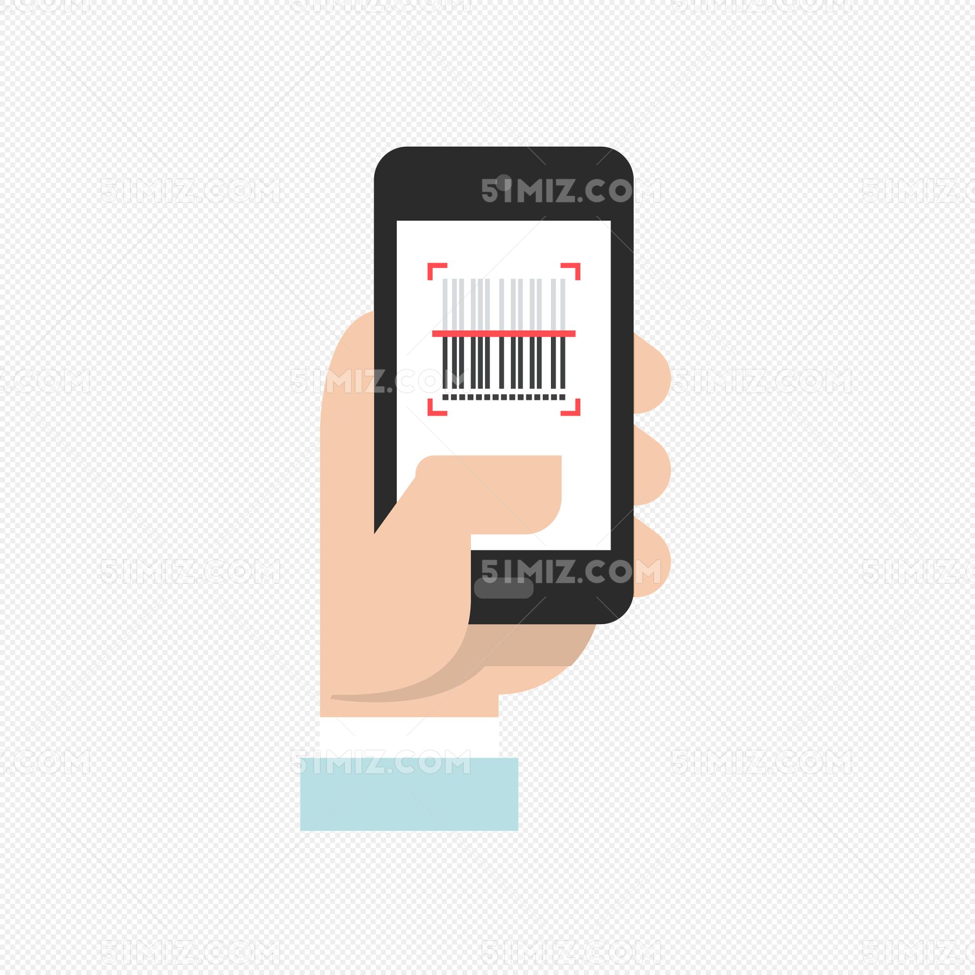 手机矢量扫一扫二维码条形码免抠免费下载_png素材_觅
