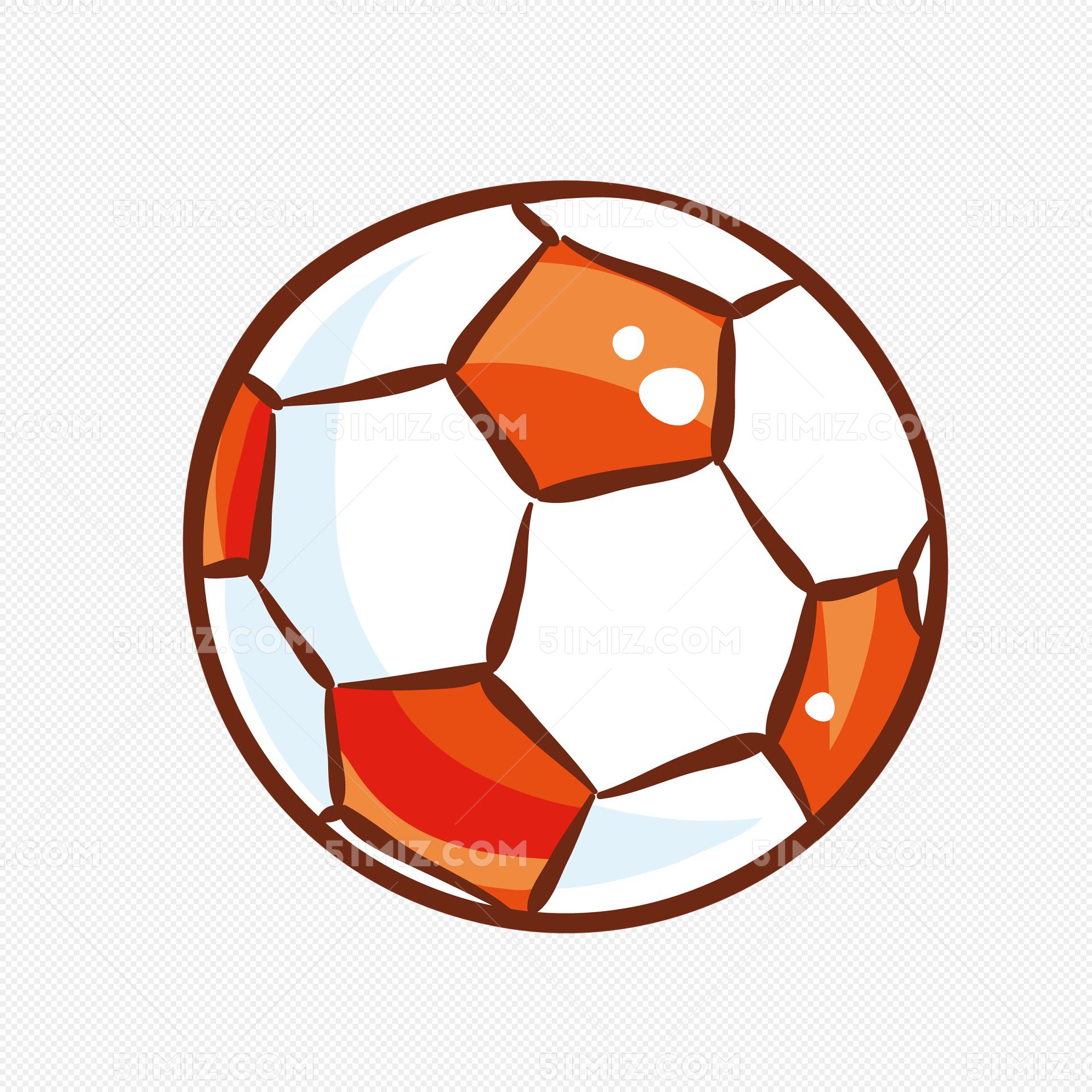 手绘矢量彩色运动足球
