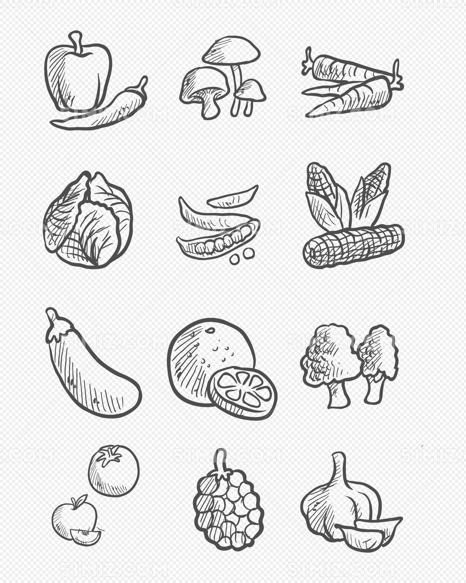 水果手绘素描蔬菜矢量素材