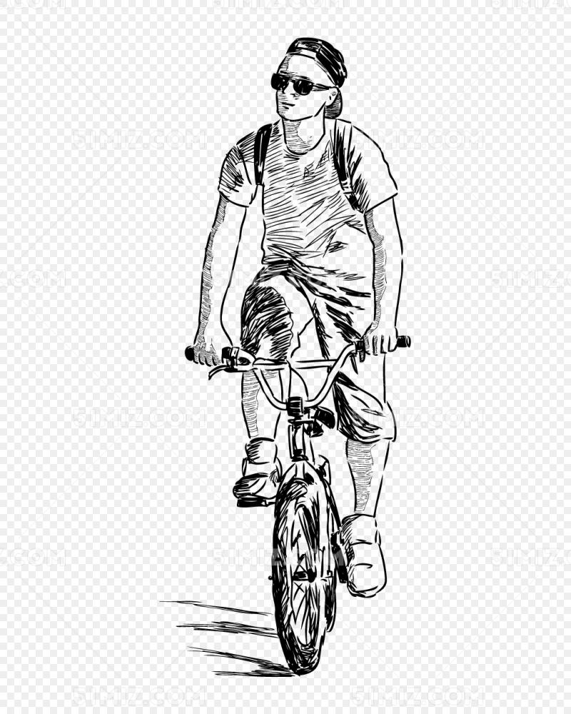 骑行的年轻男孩自行车素描素材