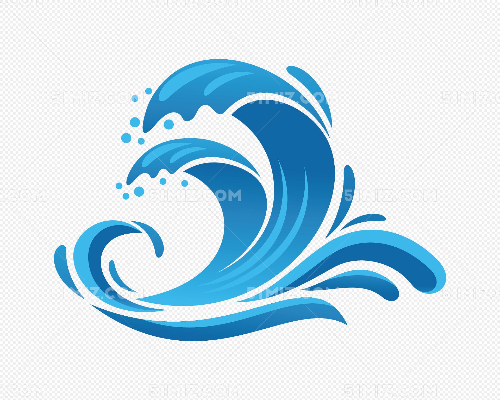 矢量图蓝色的浪花图片素材免费下载_觅知网