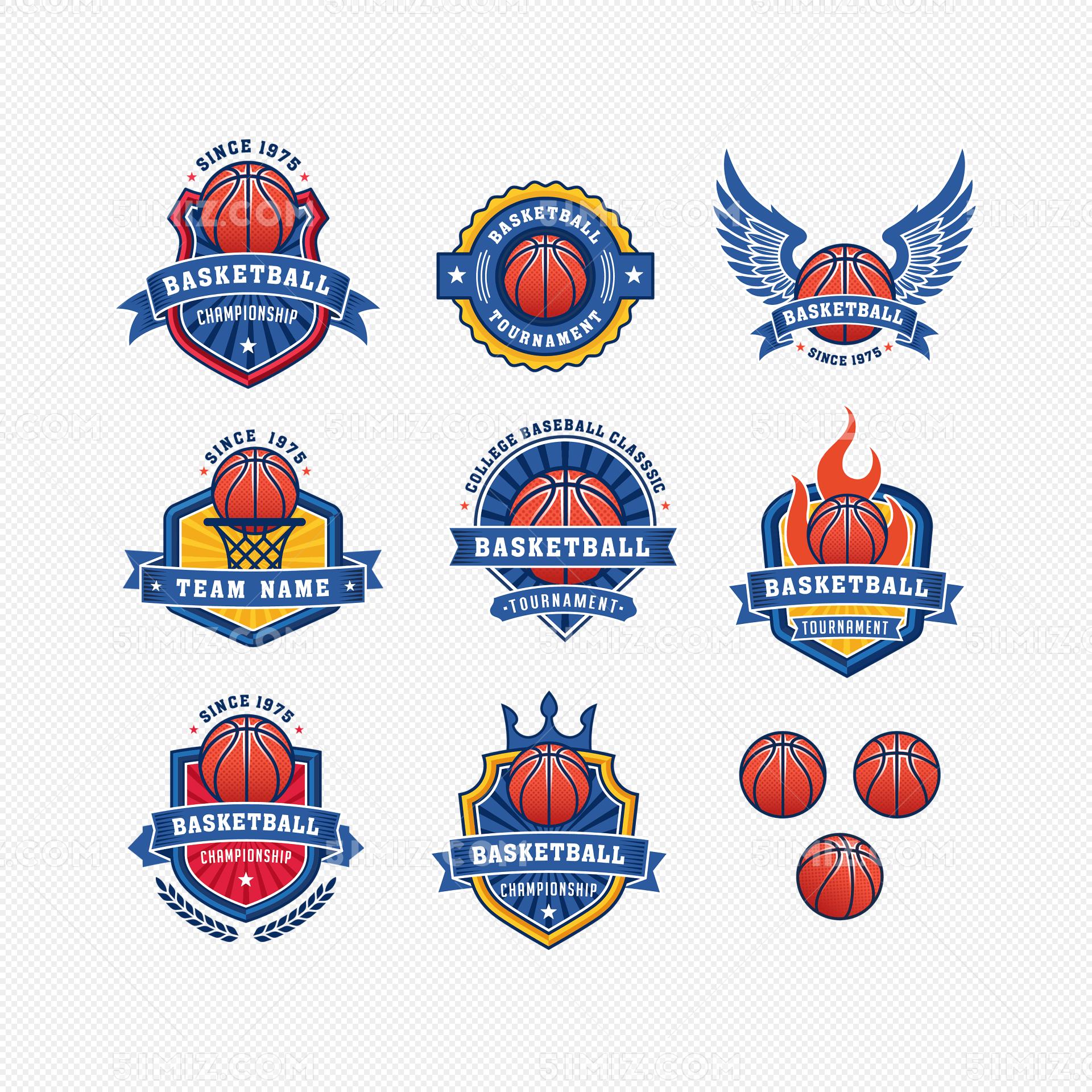 蓝色篮球队队徽logo免费下载_png素材_觅知网