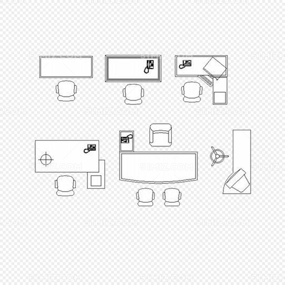 现代各式办公桌平面图免抠png