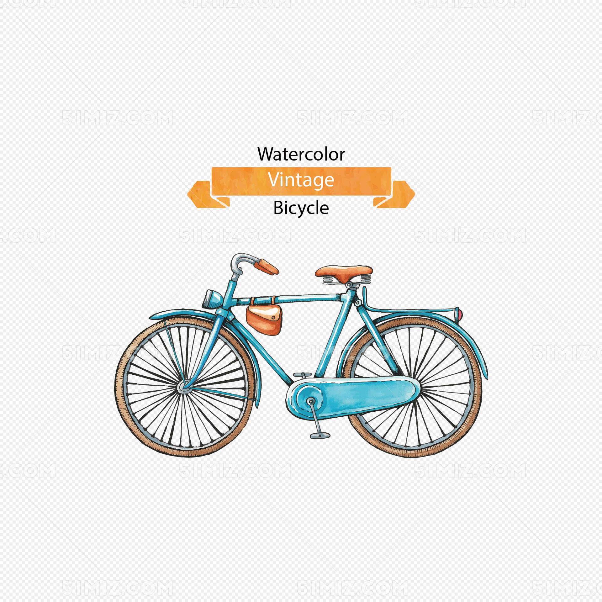 矢量手绘自行车图片素材免费下载_觅知网