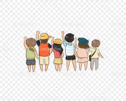 卡通手绘一群人的背影