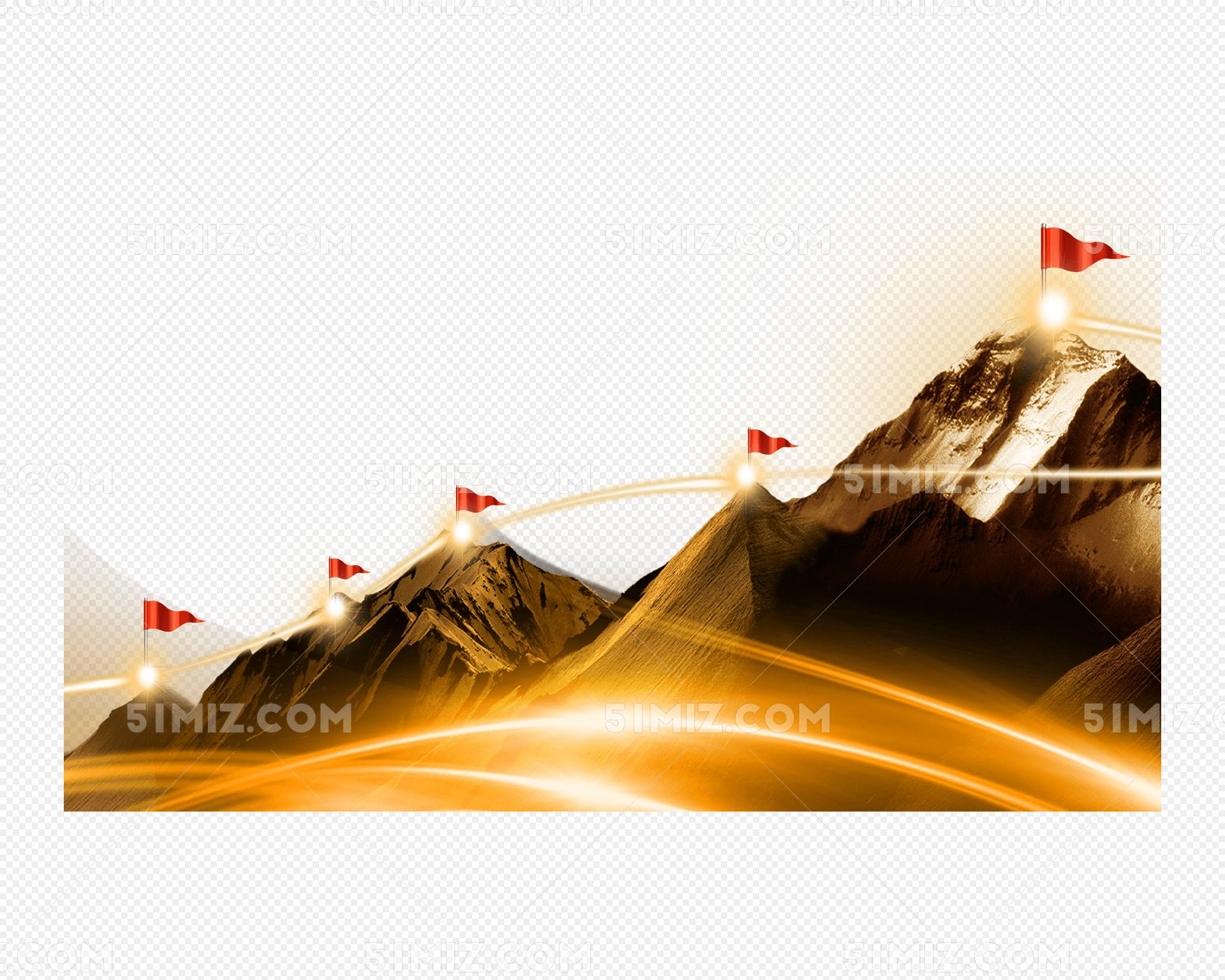 山峰旗帜排名企业展板背景