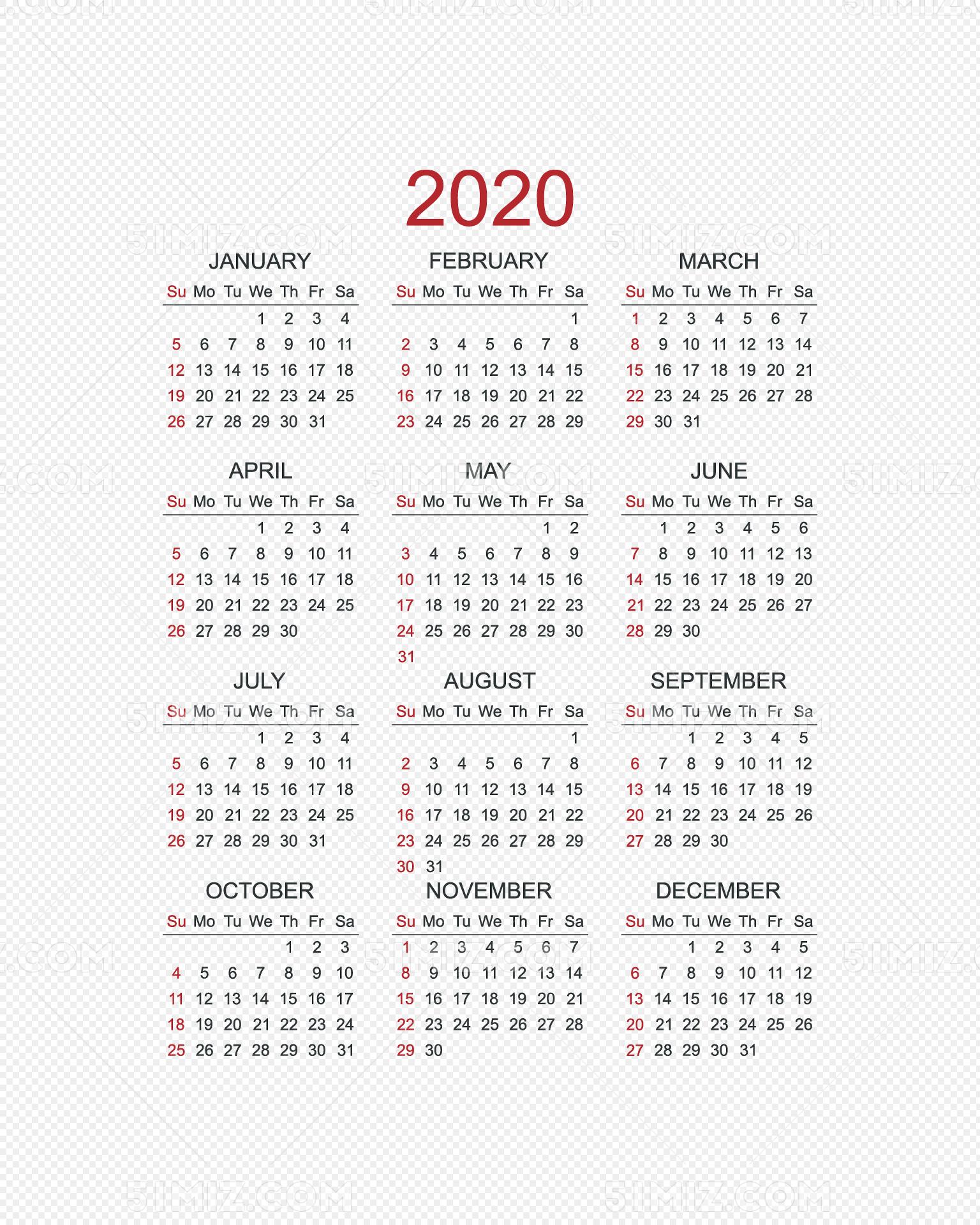 2020年日历 日历 2020图片
