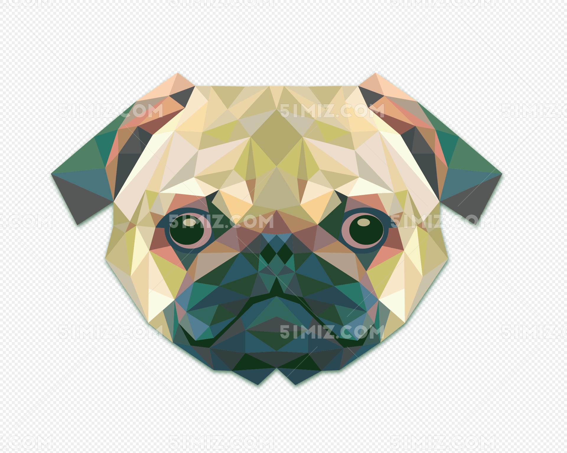 马赛克动物狗头像免费下载图片