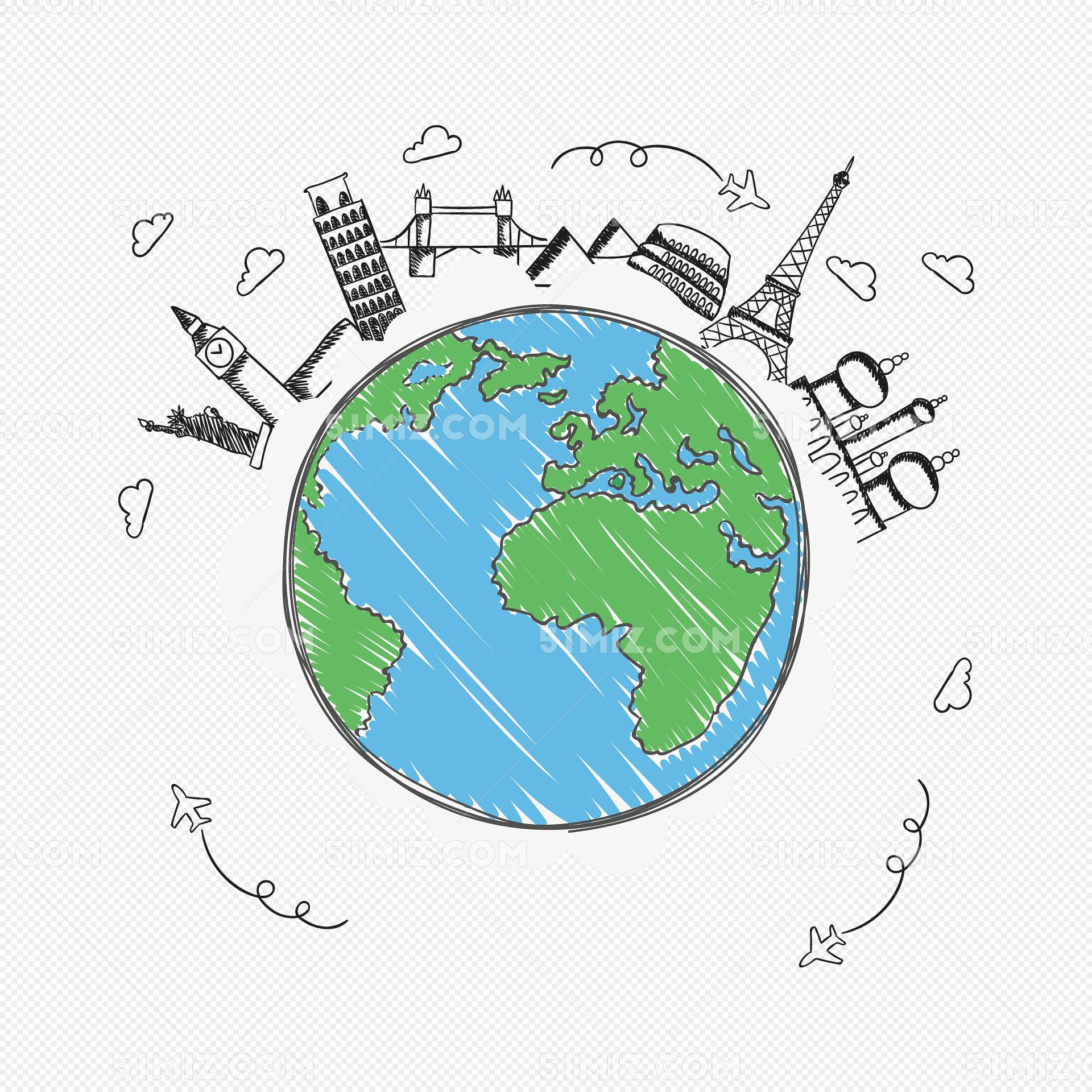卡通手绘地图地球环保