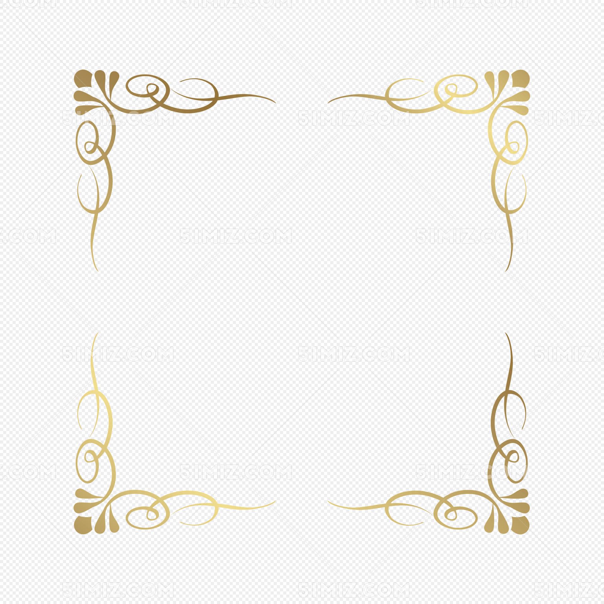 金色矩形法式花纹边框png图片