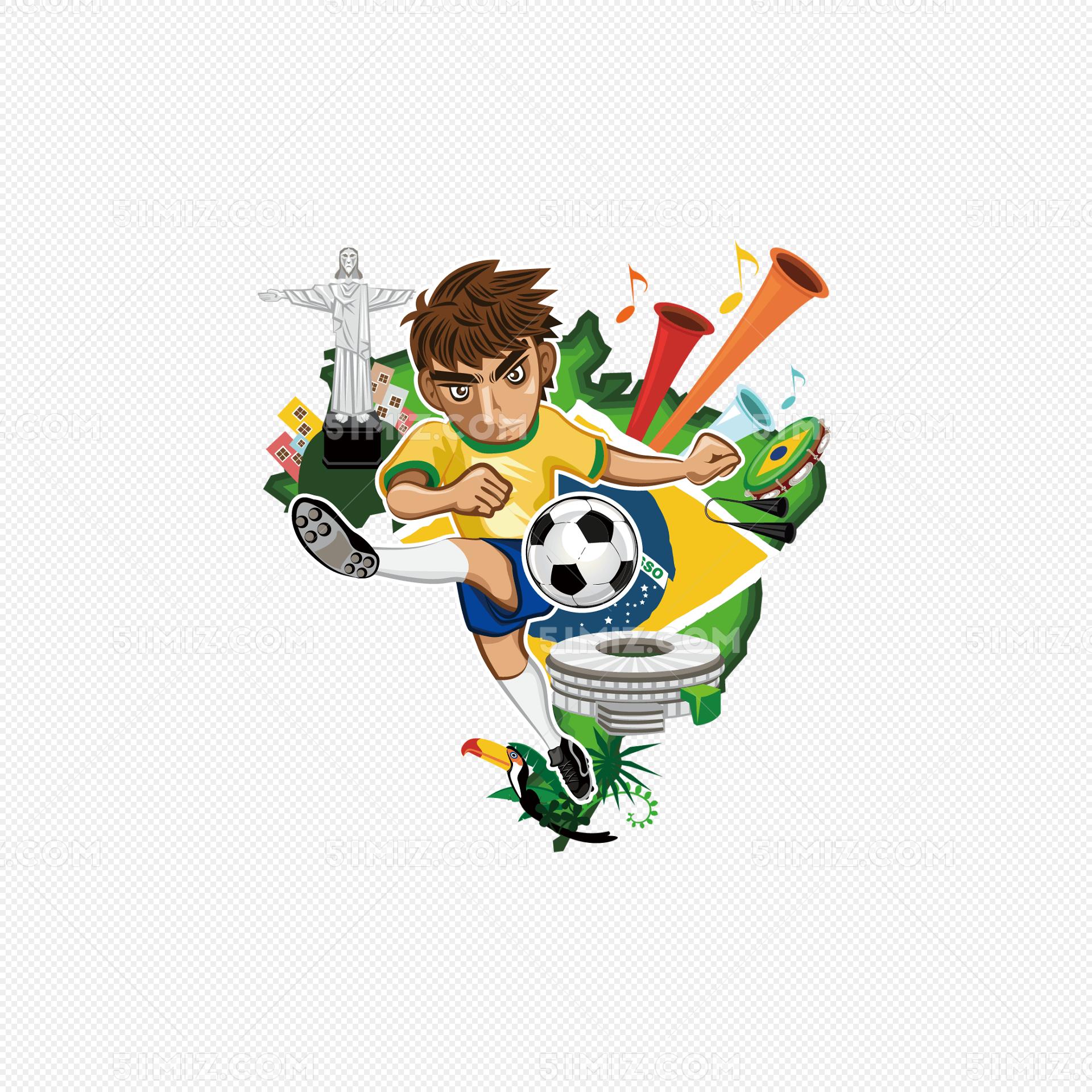 卡通足球人物背景矢量素材