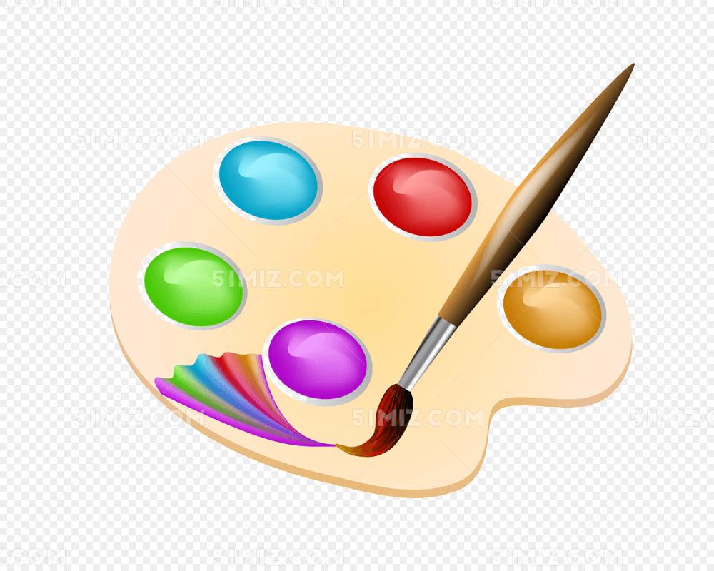 美术 卡通调色盘和画笔免费下载_png素材_觅知网