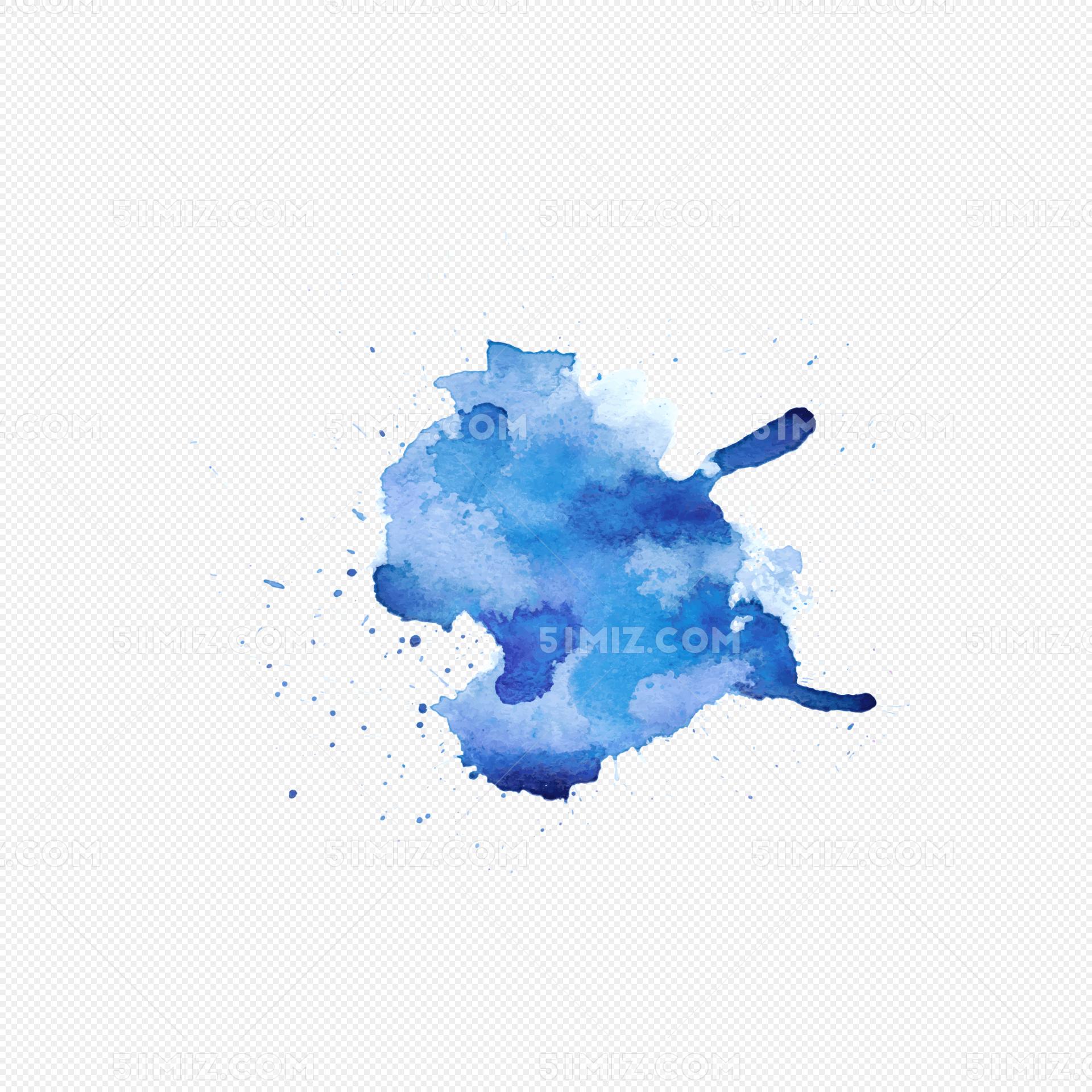 淡蓝色渐变水墨渲染矢量图