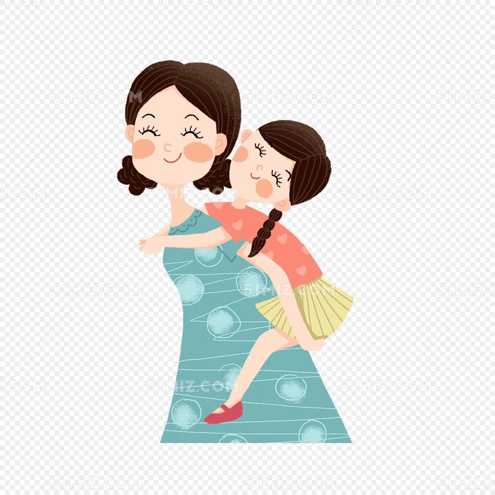 手绘可爱插画母亲节背着孩子的妈