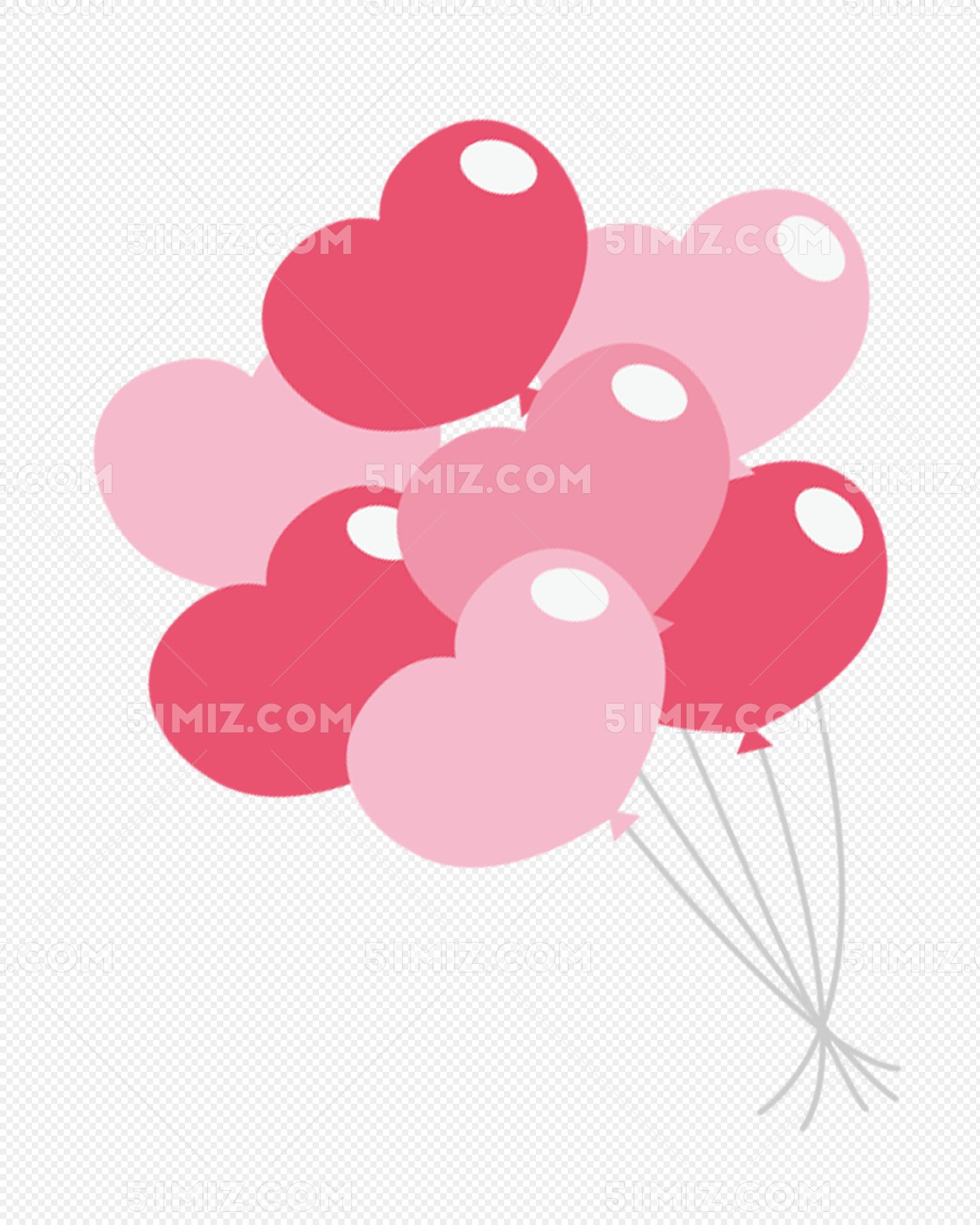 粉色卡通心形气球装饰图案图片素材免费下载_觅知网