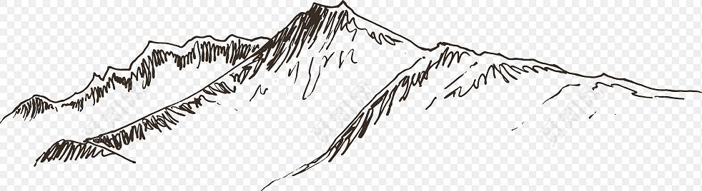 矢量手绘线条山脉